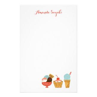 Papeterie Illustration de crème glacée avec le nom