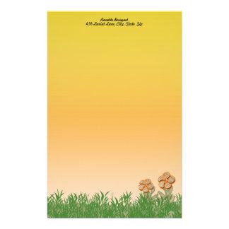 Papeterie Illustration de fleur de texture de toile de jute