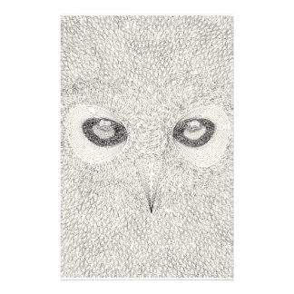 Papeterie Illustration détaillée de hibou en noir et blanc