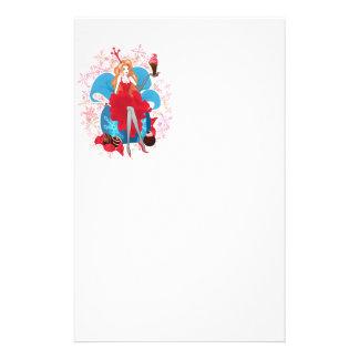 Papeterie Illustration grise rouge élégante de Noël de mode