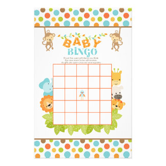 Papeterie Jeu de bingo-test de bébé de safari avec des