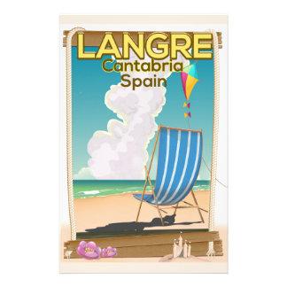 Papeterie Langre, affiche de plage de la Cantabrie Espagne