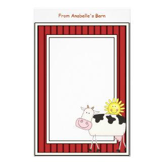 Papeterie Le cadre rouge de grange heureuse de vache