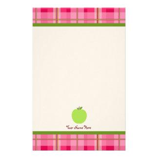 Papeterie Le plaid rose et l'Apple vert ont personnalisé le