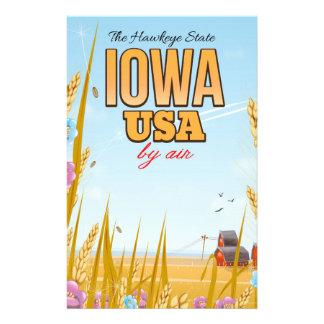 """Papeterie L'Iowa Etats-Unis """"affiche de voyage de bande"""