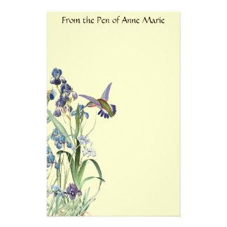 Papeterie L'iris de faune d'oiseau de colibri fleurit floral