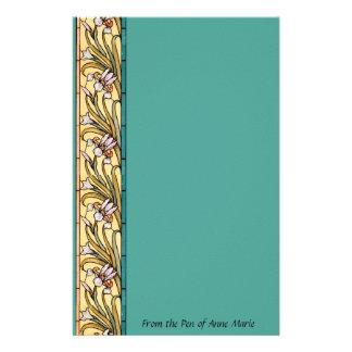 Papeterie L'iris de frontière de Nouveau d'art fleurit la
