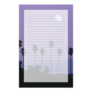 Papeterie Lune au-dessus des palmiers au crépuscule,