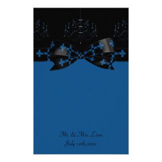 Papeterie Lustre gothique bleu et noir et mariage de croix