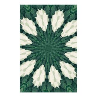 Papeterie Mandala. de feuille verte et argentée de
