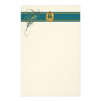 Papeterie Mariage décoré d'un monogramme de paon en Teal et