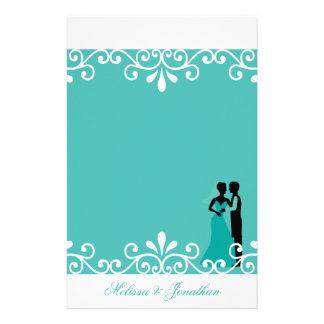 Papeterie Mariage élégant turquoise de remous de marié blanc