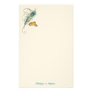 Papeterie Mariage turquoise de paon avec des alliances d'or