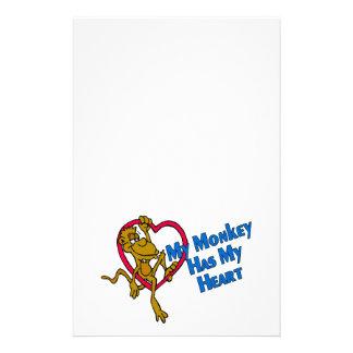 Papeterie Mon singe a mon coeur