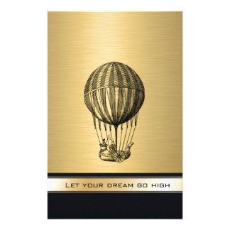 Papeterie 'Monogramme vintage élégant d'or de ballon de vol