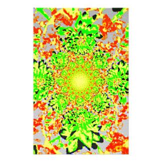 Papeterie Motif de fleur floral abstrait de dahlia de vert
