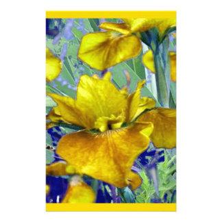 Papeterie Motif de jardin d'iris jaune de moutarde de vert