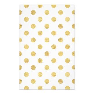Papeterie Motif de point élégant de polka de feuille d'or -