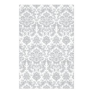 Papeterie Motif élégant gris et blanc de damassé