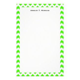 Papeterie Motif en zig-zag blanc de Chevron de vert de chaux