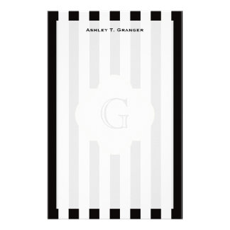 Papeterie Motif noir et blanc de rayure avec le monogramme