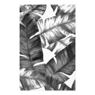 Papeterie Motif tropical noir et blanc de feuille de banane