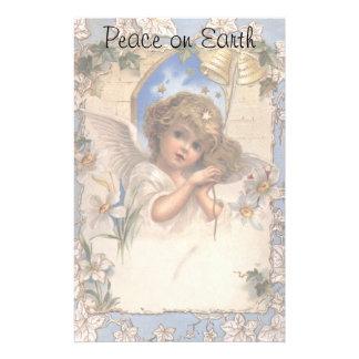 Papeterie Noël vintage, ange victorien avec de l'or Bells