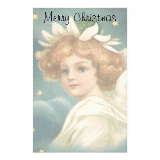 Papeterie Noël vintage, ange victorien avec des étoiles d'or