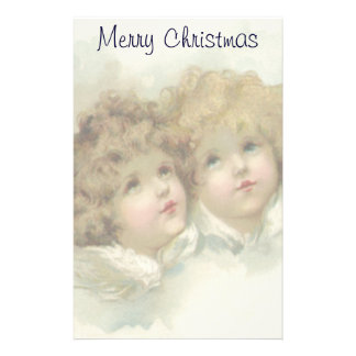 Papeterie Noël vintage, anges victoriens dans les nuages