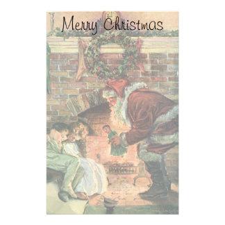 Papeterie Noël vintage, enfants victoriens du père noël