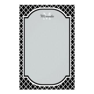 Papeterie Nom décoré d'un monogramme noir et blanc moderne