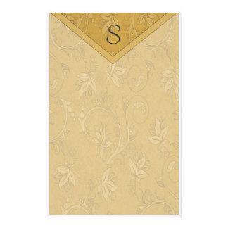 Papeterie Or élégant de monogramme floral