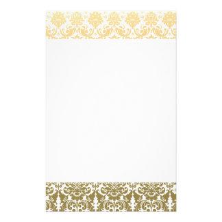 Papeterie Or et motif élégant blanc de damassé