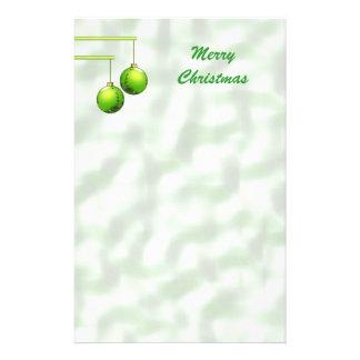 Papeterie Ornements verts de Noël
