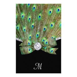 Papeterie Paon élégant et mariage de diamants