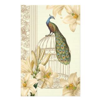 Papeterie paon vintage de cage à oiseaux de lis français de