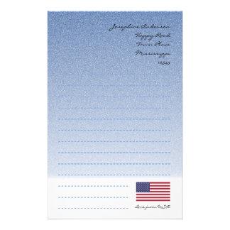 Papeterie Papier à lettres bleu de drapeau américain