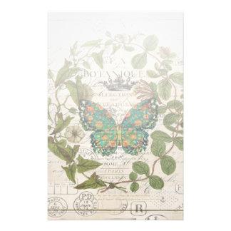 Papeterie papillon français de pays de guirlande de feuille