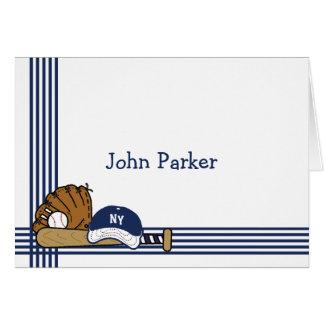 Papeterie personnalisée par base-ball blanc bleu carte de correspondance