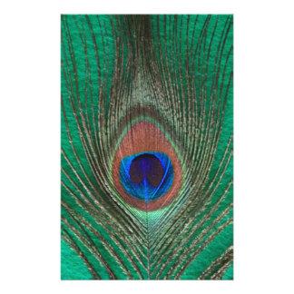 Papeterie Plume verte de paon