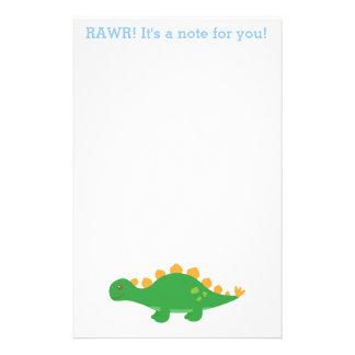 Papeterie Rawr, dinosaure vert mignon de Stegosaurus