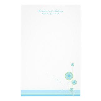 Papeterie Remous bleus élégants de fleur de neige épousant