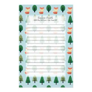 Papeterie Renards et arbres mignons personnalisés sur le