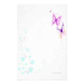 Papeterie rose de papillons
