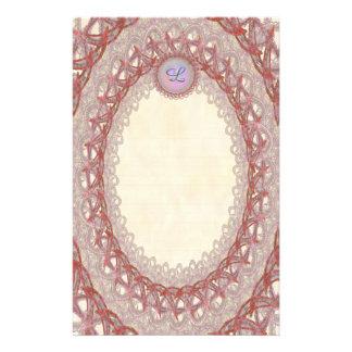 Papeterie rose rayée de la dentelle p1 de cru de