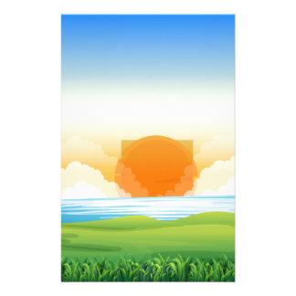 Papeterie Scène de nature avec le coucher du soleil