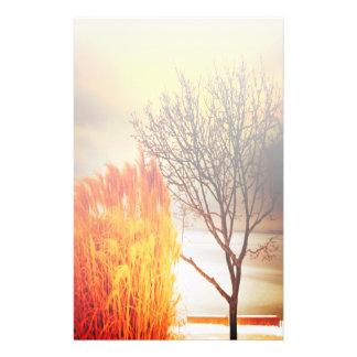 Papeterie silhouette d'arbre de paysage de coucher du soleil