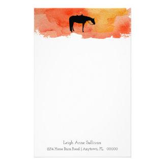 Papeterie Silhouette occidentale noire de cheval sur