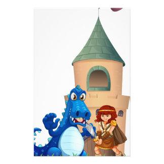 Papeterie Une femme et un dragon en dehors du château