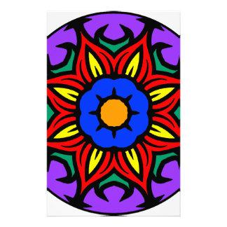 Papeterie Version de couleur de fleur de flamme du mandala